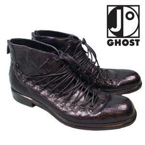 JO GHOST - Black Print Leather Lace Up Ankle Boots
